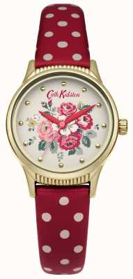 Cath Kidston Red polka dot band witte wijzerplaat CKL012RG