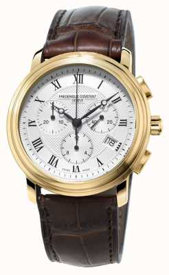 Frederique Constant Heren klassieke chronograaf bruin lederen band FC-292MC4P5