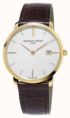 Frederique Constant Heren slanke bruine lederen band FC-220V5S5