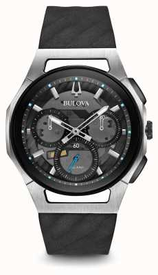 Bulova | curv | mens | chronograaf | zwarte rubberen riem | 98A161