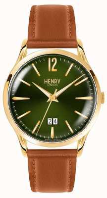 Henry London Mens chiswick groen gezicht bruine lederen band HL41-JS-0188