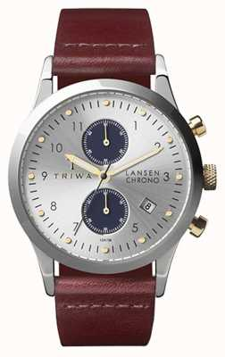 Triwa Mens Lansen chrono zilver bruin leer LCST115-CL010312