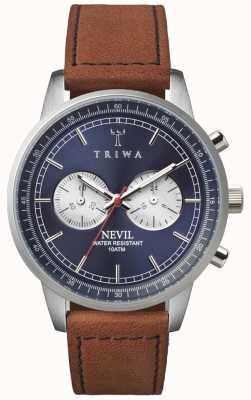 Triwa Mens blauwe stalen Nevil chronograaf bruin leer NEST108-SC010216