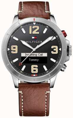 Tommy Hilfiger Th 24/7 SmartWatch bruine lederen band zwarte wijzerplaat 1791296