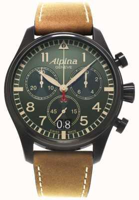 Alpina Mens Startimer piloot chronograaf quartz AL-372GR4FBS6