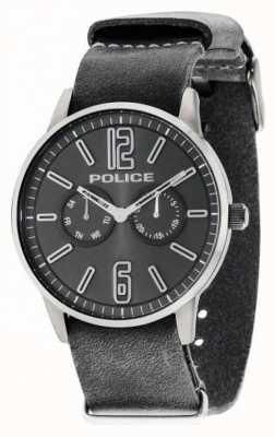 Police Mens Esquire x donkergrijs leer 14766JSU/61