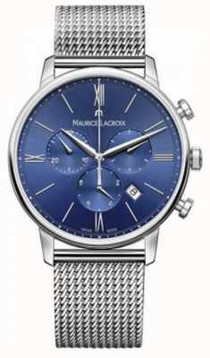 Maurice Lacroix Mens Eliros chronograaf blauwe mesh band EL1098-SS002-410-1
