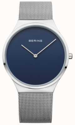Bering Heren klassieke mesh blauwe wijzerplaat 12138-007