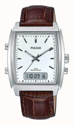 Pulsar Gents bruin leer analoge / digitale horloge PBK033X1