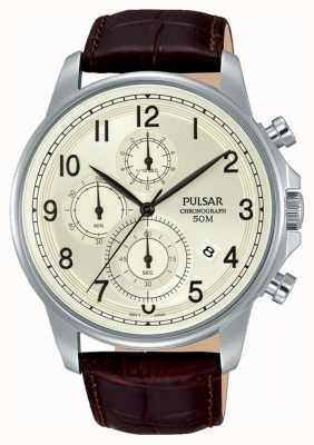 Pulsar Heren bruin lederen crème chrono wijzerplaat horloge PM3071X1