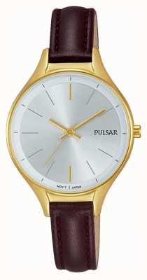 Pulsar Ladies bruin lederen gouden horloge PH8280X1