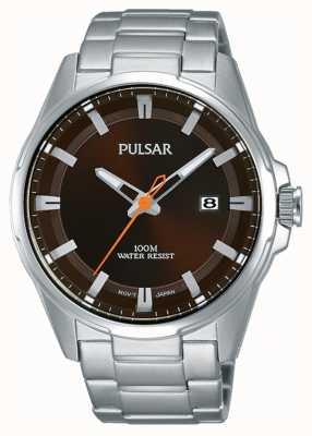 Pulsar Gents roestvrij staal bruin gezicht horloge PS9507X1