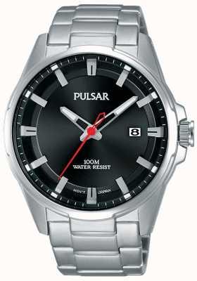 Pulsar Gents zwarte wijzerplaat roestvrij stalen horloge PS9509X1