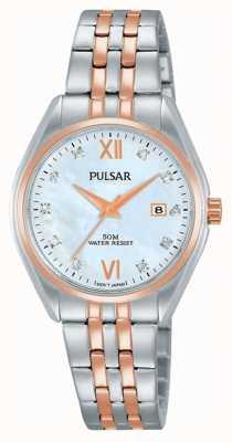 Pulsar Dames twee toon parelwiel horloge PH7458X1