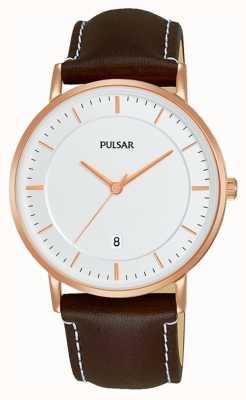 Pulsar Heren bruin lederen horloge PG8258X1