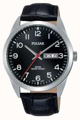Pulsar Gents zwart leer zwart wijzerplaat horloge PJ6067X1