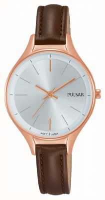 Pulsar Dames bruin lederen horloge PH8282X1