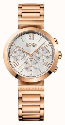 Boss Dames klassieke sport rosé vergulde armband zilverkleurige wijzerplaat 1502399