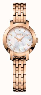 Hugo Boss Womens succes rose goud verguld parelmoer dial 1502379