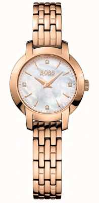 Boss Womens succes rose goud verguld parelmoer dial 1502379