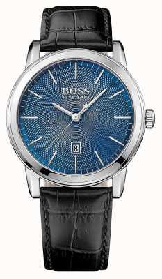 Hugo Boss Mens klassieke zwarte lederen band blauwe wijzerplaat 1513400