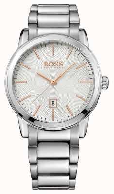 Hugo Boss Heren klassieke roestvrij stalen armband witte wijzerplaat 1513401