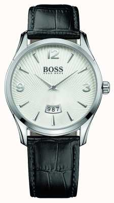 Hugo Boss Mens commandant zwart lederen band witte wijzerplaat 1513449