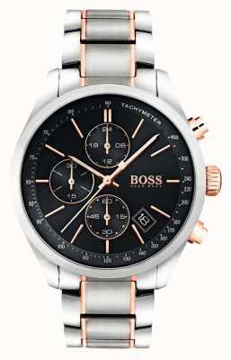 Hugo Boss Heren grand prix roestvrij stalen armband zwarte wijzerplaat 1513473