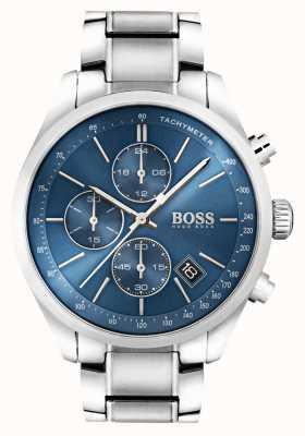 Hugo Boss Heren grand prix roestvrij staal blauwe wijzerplaat 1513478