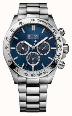 Hugo Boss Mens IKON roestvrij stalen armband blauwe wijzerplaat 1512963