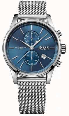 Hugo Boss Mens jet roestvrijstalen gaas armband blauwe wijzerplaat 1513441