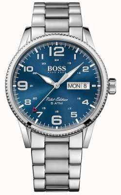 Boss Heren piloot vintage roestvrij stalen armband blauwe wijzerplaat 1513329