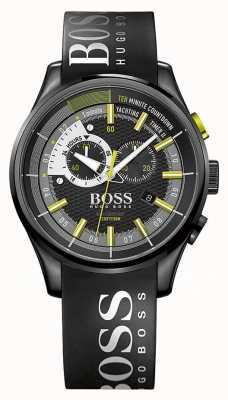 Hugo Boss Mens yachting timer ii zwarte rubberen band zwarte wijzerplaat 1513337