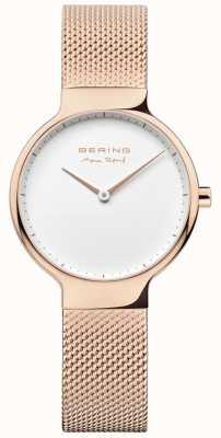 Bering Dames max rené uitwisselbare mesh band rose goud 15531-364