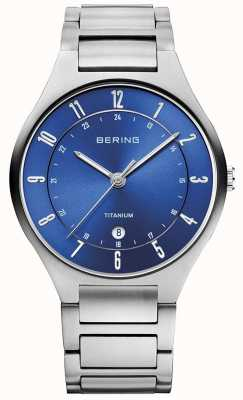 Bering Heren titanium grijze band blauwe wijzerplaathorloge ex-display 11739-707EX-DISPLAY