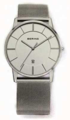 Bering Mens klassieke mesh band wit wijzerplaat horloge 13139-000