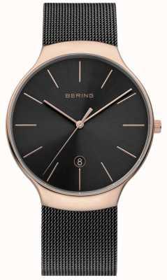 Bering Mannen milanees zwart en roos goud mesh horloge 13338-262