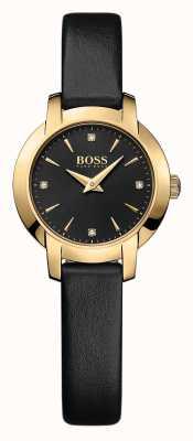Hugo Boss Ladies succes zwart lederen horloge 1502383