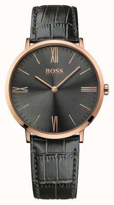 Hugo Boss Mens jackson grijs lederen horloge 1513372