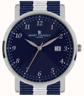 Smart Turnout Savant horloge zilver marine met Yale riem STH5/SN/56/W