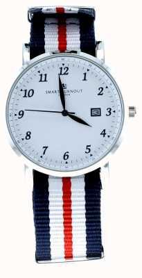 Smart Turnout Savant horloge zilver wit met Harvard riem STH5/SW/56/W