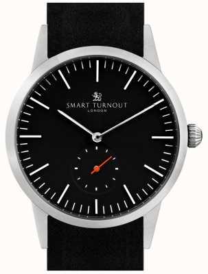 Smart Turnout Signature horloge - zwart met zwart leer en zilver STK3/BK/56/W