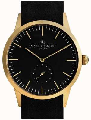 Smart Turnout Signature horloge - goud met zwart leer en gf riem STK3/GO/56/W