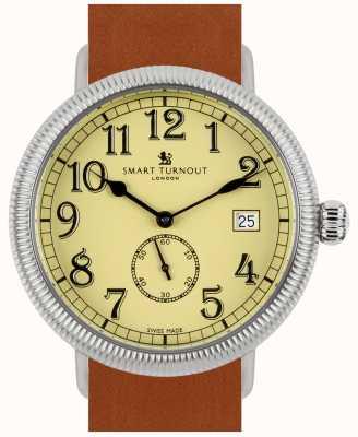 Smart Turnout Officer horloge - beige met bruin lederen band STG3/BE/56/W