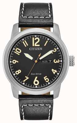 Citizen Mens eco rijden zwart lederen Chandler BM8471-01E