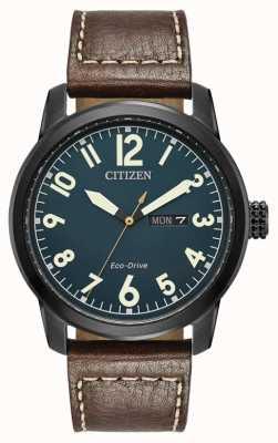 Citizen Mens eco rijden bruin lederen Chandler BM8478-01L