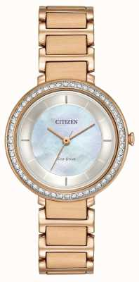 Citizen Womans Eco-Drive silhouet crystal rose goud EM0483-54D