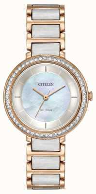 Citizen Womans Eco-Drive silhouet crystal two tone rose goud EM0483-89D