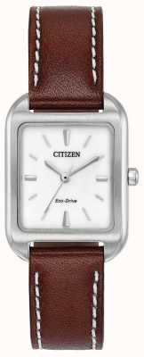 Citizen Womans eco-drive silhouet bruin leer EM0490-08A