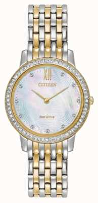 Citizen Womans Eco-Drive silhouet crystal two tone goud EX1484-57D